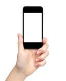 Getrennte Frauenhand, die das Telefon anhält lizenzfreie stockbilder