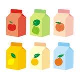Getrennte Fruchtsaft-Kartonkästen Stockfoto