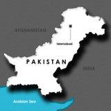 Getrennte geprägte Karte von Pakistan Lizenzfreies Stockfoto