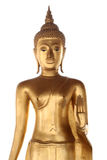 Getrennte goldene stehende Buddha-Statue stockfoto