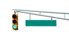 Getrennte grüne Verkehrszeichenleuchte mit Zeichen Lizenzfreie Stockbilder