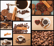 Getrennte Kaffeetasse auf schwarzem Hintergrund, Hände, die Tasse Kaffee und Abschluss eines Tasse Kaffees mit Kaffeebohnen aufne Stockfotografie