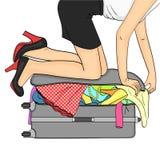 Getrennte Nachricht auf weißem Hintergrund Tema-Reise und weibliche Versammlung Sachen, die nicht in den Koffer passen Vektor stock abbildung