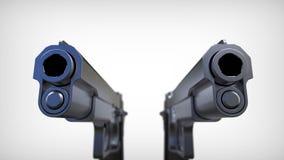 Getrennte Pistolen auf weißem Hintergrund. Stockfotografie