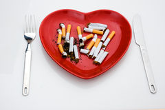 Getrennte Platte mit Zigarette Stockbilder