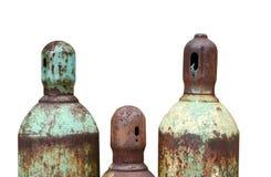 Getrennte rostige Acetylen- und Sauerstoffbecken Stockbilder