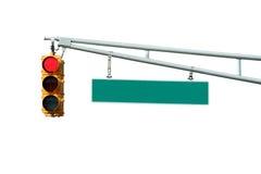 Getrennte rote Verkehrszeichenleuchte mit Zeichen Lizenzfreies Stockfoto