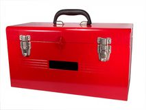 Getrennte rote Werkzeugkasten-Nahaufnahme Stockfoto