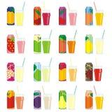 Getrennte Saftdosen und -gläser Stockbilder