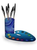 Getrennte Wasserfarben und -pinsel Stockbilder