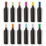 Getrennte Weinflaschen eingestellt Stockbild