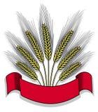 Getrenntes Bündel Weizen mit Farbband Stockfotografie