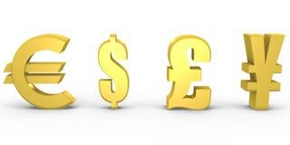 Getrenntes Bargeld, zum im Gold auszuwählen - ein Bild 3d Stockbild