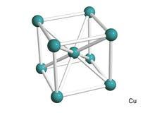 Getrenntes Baumuster 3D eines Kristallgitters des Kupfers Lizenzfreie Stockbilder
