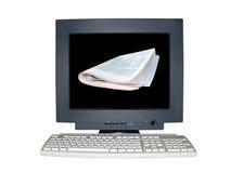 Getrenntes Computerüberwachungsgerät mit Nachrichtenszenenkonzept Stockfoto