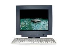 Getrenntes Computerüberwachungsgerät mit Technologieszenenkonzept Stockbilder