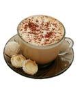 Getrenntes Cup Capuccino und zwei Kokosnusssüßigkeiten Lizenzfreies Stockbild