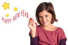 Getrenntes kleines Mädchen - glückliches neues Jahr Lizenzfreie Stockfotografie