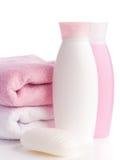 Getrenntes rosafarbenes Zubehör für Badekurort oder Sauna stockfotos
