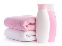 Getrenntes rosafarbenes Zubehör für Badekurort oder Sauna lizenzfreies stockbild