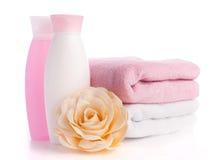 Getrenntes rosafarbenes Zubehör für Badekurort oder Sauna lizenzfreie stockbilder