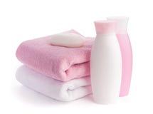 Getrenntes rosafarbenes Zubehör für Badekurort oder Sauna Stockbild