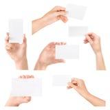 Getrenntes Set der Visitenkarte in der Hand Lizenzfreie Stockfotografie