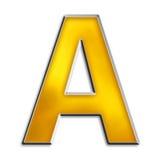 Getrenntes Zeichen A im glänzenden Gold Stockbilder