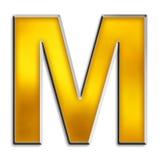 Getrenntes Zeichen M im glänzenden Gold Stockfotografie