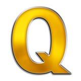 Getrenntes Zeichen Q im glänzenden Gold Stockbild