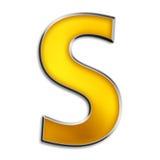 Getrenntes Zeichen S im glänzenden Gold Stockbilder