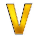 Getrenntes Zeichen V im glänzenden Gold Stockfotografie