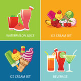 Getränk und Eiscreme für Sommer Lizenzfreie Stockbilder