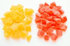 Getrocknete Ananas Apple-Kirsche abgetönt mit allen Farben des Regenbogens lizenzfreie stockfotos