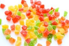 Getrocknete Ananas Apple-Kirsche abgetönt mit allen Farben des Regenbogens stockfotos