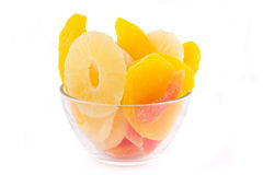 Getrocknete Ananas, Mangofrucht und Papaya Lizenzfreies Stockfoto