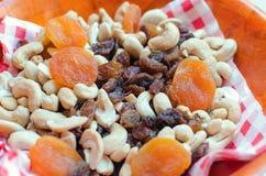 Getrocknete Aprikosen, Acajoubaum, trockene Rosinen und Erdnüsse Lizenzfreie Stockfotos