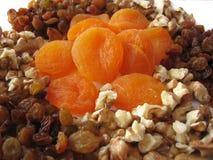 Getrocknete Aprikosen, Rosinen, Muttern stockfoto