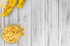 Getrocknete Banane bricht Nahaufnahmeschuß, selektiven Fokus ab Lizenzfreies Stockbild