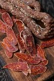 Getrocknete Chorizo Selektiver Fokus Lizenzfreies Stockbild