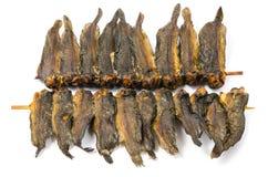 Getrocknete clarias Fische in der Bambusaufsteckspindel Lizenzfreies Stockfoto