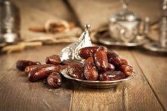 Getrocknete Dattelpalmefrüchte oder kurma, (ramazan) Lebensmittel Ramadans Stockbilder