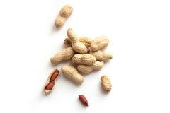 Getrocknete Erdnüsse in der Nahaufnahme Stockfotos