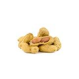 Getrocknete Erdnüsse herein auf Weiß Stockfotos