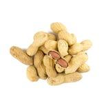 Getrocknete Erdnüsse herein auf Weiß Stockbild