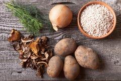 Getrocknete mashrooms, Kartoffel, Zwiebel, Dill und Korn in einer Schüssel auf einem ol Lizenzfreie Stockfotos