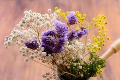 Getrocknete-oben Blumen bedeckten mit Staub im Kaffee den Türken Stockbild