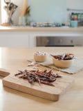 Getrocknete Pfeffer und Knoblauch des roten Paprikas Lizenzfreie Stockfotografie