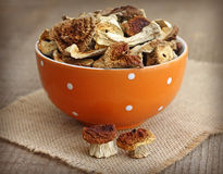 Getrocknete Pilze in der orange Schüssel Lizenzfreies Stockfoto