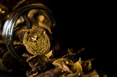 Getrocknete Pilze im Glas Lizenzfreies Stockfoto